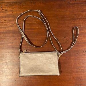 Silver Versatile Wristlet/Clutch/Crossbody Bag